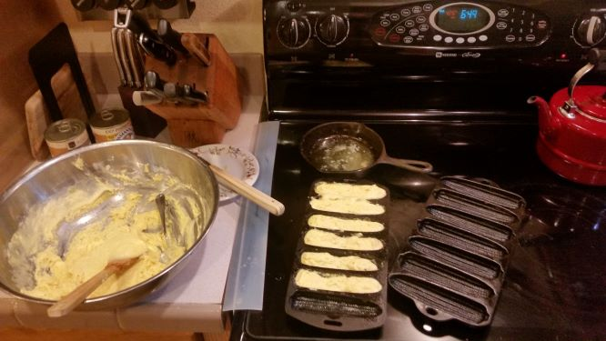 batter, melted butter, and hot corn-stick pans