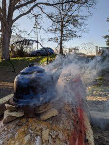 Blue kettle heating