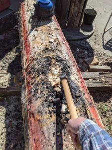 chopping out the char